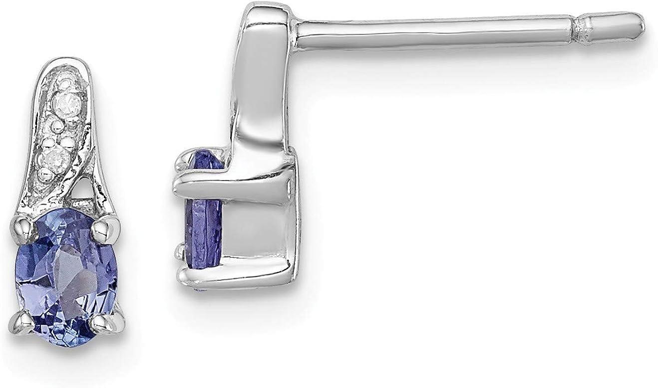 Sterling 100% quality warranty Silver Rhodium-plated Earrings New York Mall Diamond Tanzanite