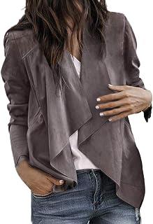 Xmiral Cappotto Donna Manica Lunga in Pelle Aperta Davanti Aperto Breve Cardigan Suit Giacca Lavoro Ufficio Lavoro