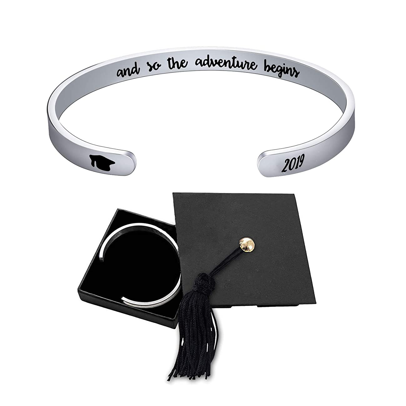 Jdesign Womens Grad Cap 2019 Bangle Cuff Bracelet Bangle Engraved Mantra Quote and so The Adventure Begins Inspirational Gifts Graduation Gifts Bracelet for Women