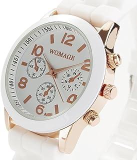 Relógio de pulso-Relógio de pulso feminino feminino de quartzo com mostrador redondo e pulseira de silicone (branco)
