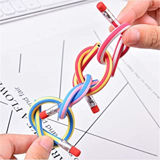 CapsA Colorful Magic Bendy Flexible Soft Pencils with Eraser Magic Bend School Fun Equipment for Kids Writing Gift