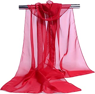 Bullidea Women's Silk Scarf Long Solid Color Chiffon Shawl Wrap Scarves Beach Soft Sun Protection Red