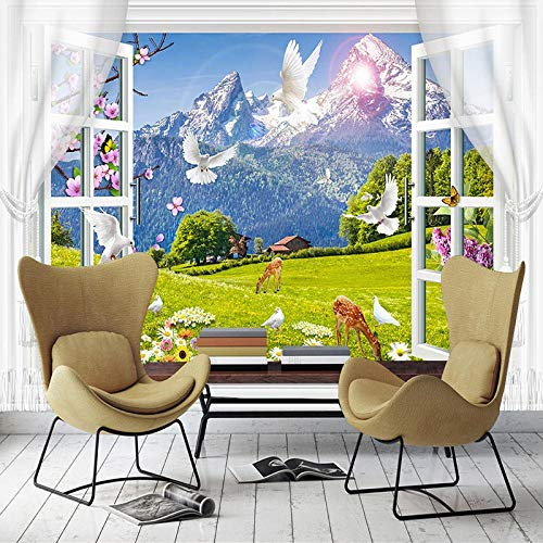 Msrahves wall murals for bedrooms girls Windows scenery snow mountains white doves deer 250X175CM Mural Decoration Wallpaper Photoposter Decor Background Wall Mural Photo Wallpaper Self Adhesive Wallp