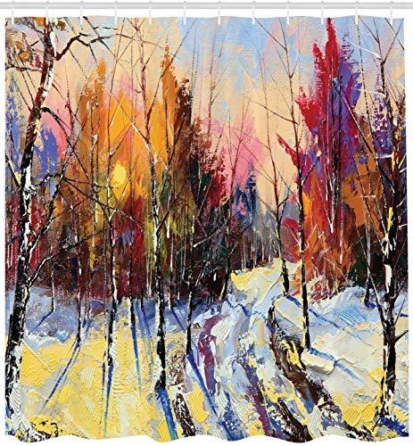 KUKUALE Land Duschvorhang Pastellfarbe Farbe des Sonnenuntergangs in der Altstadt Winter Pastoral Landschaft Landschaft Badezimmer Dekor Set 180X180CM (71X71IN)