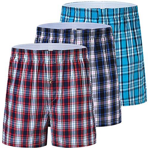 JINSHI Herren Boxershorts Baumwolle American Unterhosen Kariert Klassisch Unterwäsche Weit mit Gummibund 3 Pack L