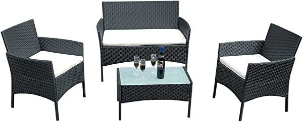 Panana Outdoor Patio Furniture 4 Pieces Rattan Patio Set Wicker Garden Furniture Table And Chairs Conversation Outdoor Black
