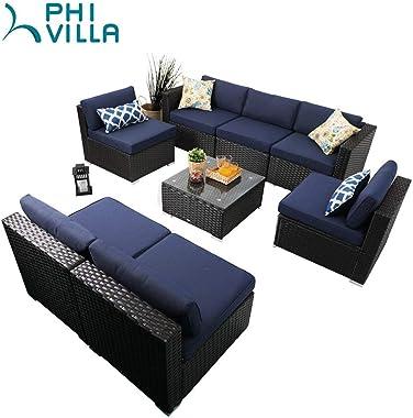 PHI VILLA Outdoor Sectional Furniture 8 Piece Patio Sofa Set Low-Back Rattan Wicker Conversation Set, Navy Blue