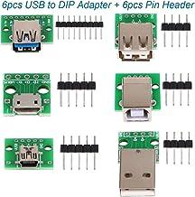 6pcs USB al convertidor del adaptador DIP, mini hembra 5p USB, 2.54mm 4p USB macho, USB 2.0 4p hembra, USB 3.0 hembra plana, Micro USB tipo B hembra, USB tipo B Interfaz cuadrada hembra DIP PCB Módulo