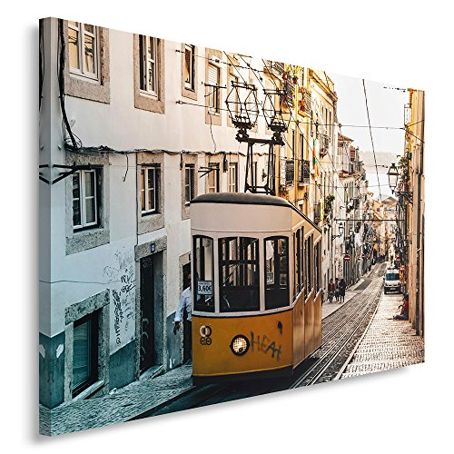 Feeby. Cuadro en lienzo - 1 Parte - 40x50 cm, Imagen impresión Pintura decoración Cuadros de una pieza, TRANVÍA, ELEVADOR DA BICA, LISBOA, ARQUITECTURA