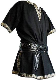 Men's Vintage Medieval V-Neck Shirt Pirate Warriors Costume Gothic Short Sleeves Viking Clothing
