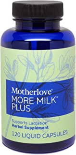 Motherlove More Milk Plus Vegan Capsules (120ct) Herbal Lactation Supplement to Enhance Breast Milk Supply for Breastfeedi...