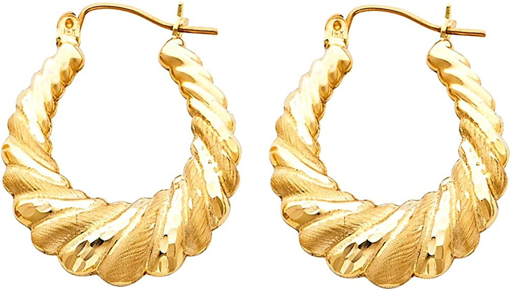Solid 14k Yellow Gold Shrimp Hoop Earrings Hollow Matte Satin Finish Polished Style Fancy 25 x 25 mm