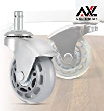 AXL 2.5 Inch Office Chair Caster Wheels Replacement, PU Style Caster, Desk Chair Floor Protector, No Noise, Heavy Duty Casters for Hardwood Floors (Set of 5) (Chrome Feet, Grey/Clear)