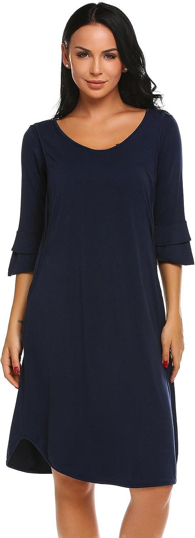 Vanilo Women ONeck Short Sleeve Solid Nursing Breastfeeding Nightgown Sleepshirt