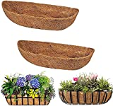 2 Pack Trough Coco Liner Fiber Replacement for Planters, 24/30/36/48 inch Half Moon Coconut Coir...