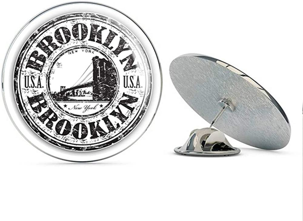Brooklyn USA Grunge Rubber Travel Stamp Round Metal 0.75