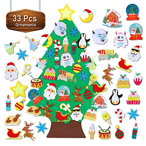 TOBEHIGHER Felt Christmas Tree - 3.5 FT Wall Felt Christmas Tree for Kids with 33 Pcs Ornaments, DIY Xmas Gifts for Christmas Decorations