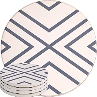 ENKORE Absorbent Coasters For Drinks - LARGE Ceramic Stone With Cork Base, Drink Spills Thirsty Cup Coaster Set of 4 Pack No Holder, OVERSIZE BETTER Protects Furniture - Grey Lines Design