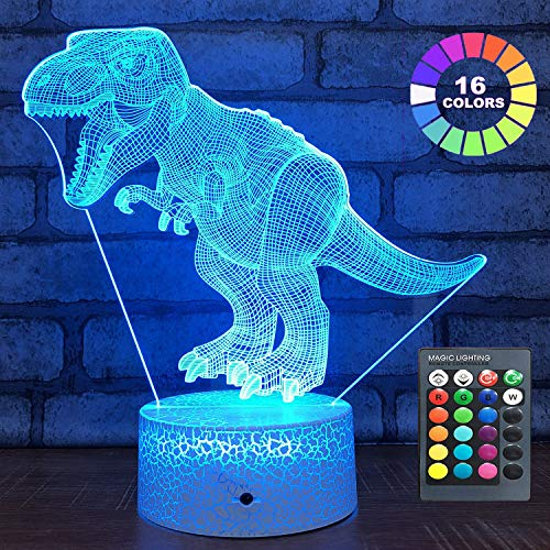 Menzee Dinosaur Toys T Rex 3D Night Light with Remote & Smart Touch 7 Colors + 16 Colors Changing Dimmable Birthday Gifts for 2 3 4 5 6 7 8 Year Old Boy Gifts