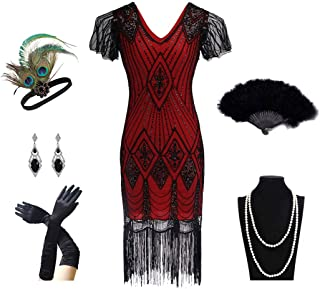 1920s Women's Gatsby Costume Flapper Dresses V Neck Fringed Dress with 20s Accessories Set of 6
