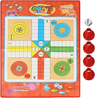 Yosoo Health Gear Ludo Family Game Board Set, Ludo Game Non-Woven Traditional Snakes Ladders Playin Ludo Board Set for Chi...