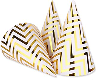 Boieo Gold Birthday Party Cone Hats, 12 ct