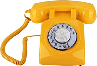 $78 » Retro Corded Phone Old Fashion Rotary Dial Telephone Vintage Landline Telephone Desk Phone Home Decoration(Yellow)