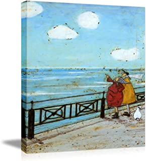 """Picabala Vintage Warm Canvas Painting Wall Art-Couple by The Sea Blue Decorative Picture Framed and Stretched Canvas Prints Romantic Ancient Life Oil Painting Ready to Hang-12""""x16""""(Framed)"""