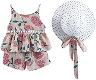 neveraway Unisex Baby Camisole and Hat Summer Ruffles Tops +Shorts Outfits