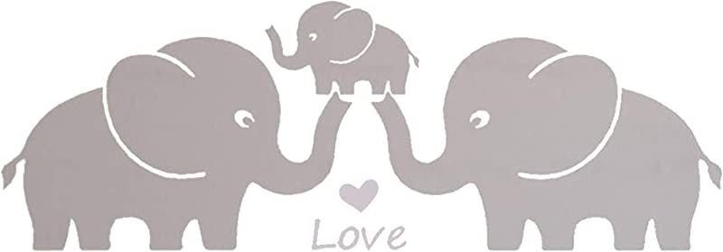 MAFENT Three Cute Elephant Family Wall Decal With Love Hearts Quote Art Baby Or Nursery Wall Decor Bedroom Decoration Grey Large