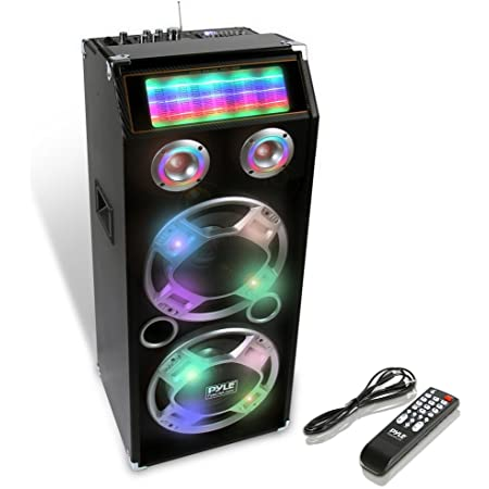 Pyle PSUFM1035A 1000W Disco Jam Powered Two-Way Bluetooth Active PA Speaker System With Flashing DJ Lights