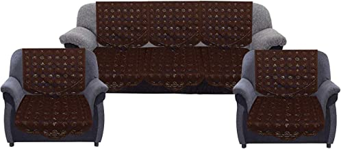 """Kuber Industries Circle Design Cotton 5 Seater Sofa Cover, 70"""" x 29"""", Set of 6, Brown"""