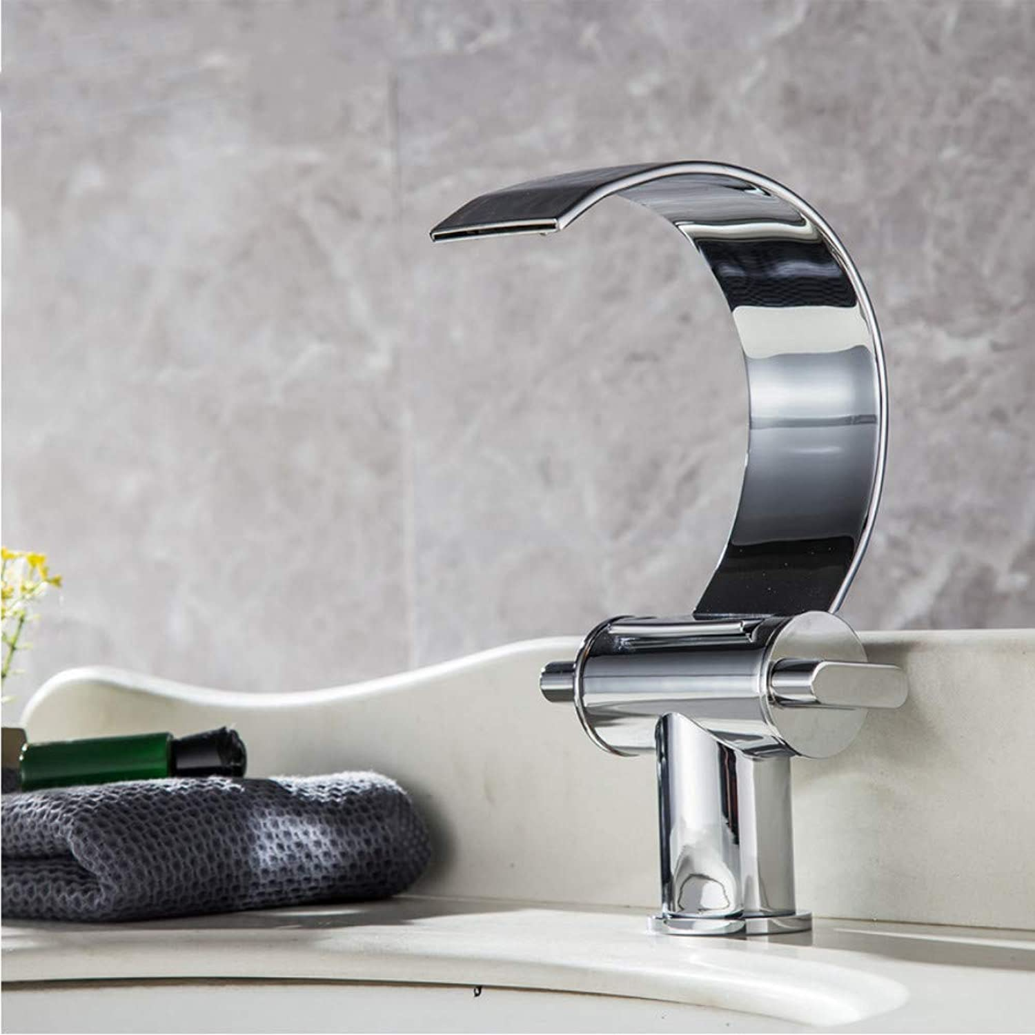 LLLYZZ Waterfall Spout Single Handle Bathroom Vessel Faucet Basin Mixer Tap Chrome Finish Double Handle Single Hole Hot and Cold Taps