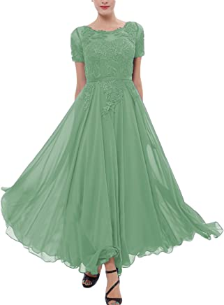 YSMei Womens Chiffon Bridesmaid Dress Tea Length Prom Cocktail Party Gown YEV146