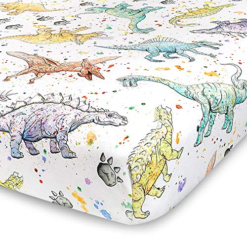 Watercolor Dinosaur Jersey Knit Cotton Crib Sheet   Extra Soft and Stretchy