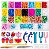 ZWOOS Caja Pulseras Gomas 4400 DIY Gomas para Hacer Pulseras Collar Herramienta de Tejer Juguetes Kit para niños