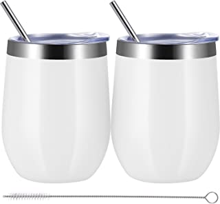 Skylety 12 oz Double-insulated Wine Tumbler, Stainless Steel Tumbler Cup with Lids and Straws for Wine, Coffee, Drinks, Champagne, Cocktails, 2 Sets (GRIND WHITE)