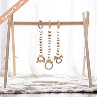little dove Wood Baby Gym with 3 Wooden Baby Teething Toys Foldable Play Gym Frame Activity Gym Hanging Bar Baby Toy White