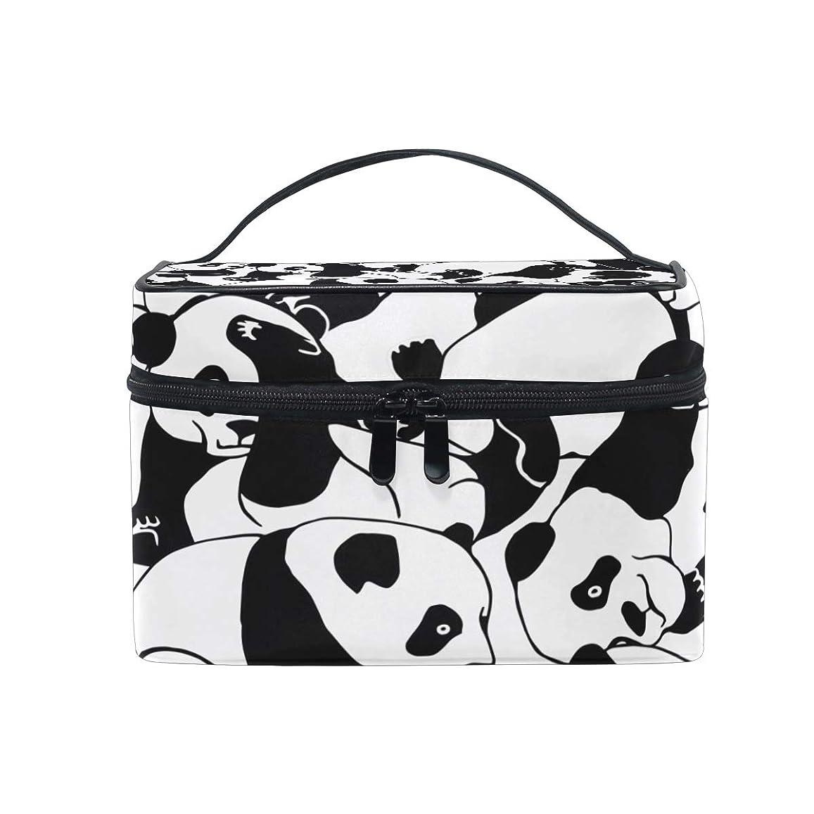 食物レビューカレンダーUOOYA パンダ Panda 黒白 おしゃれ メイクボックス 大容量 持ち運び メイクポーチ 人気 小物入れ 通学 通勤 旅行用 プレゼント用