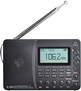 Lisanl Radio portátil, recepción de múltiples bandas, búsqueda automática y almacenamiento de estaciones de alta fidelidad...