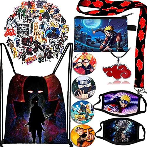 Naruto Gift Set, 1 Drawstring Bag+2 Face Masks+50 Pcs Cartoon Stickers+1 Necklace+1 Lanyard+4 Button Pins+1 Purse Bag (B)