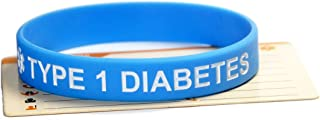 5-Pack Type 1 Diabetes Silicone Medical Awareness Bracelets with 5 Medical Emergency ID Cards 8 inch Disinfectable
