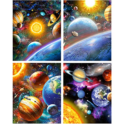 UPINS 4 Pack 12 x 16inch DIY 5D Diamond Art Painting Kits for Adults Full Space Drill Universe Galaxy, Handmade Arts Craft Home Decors