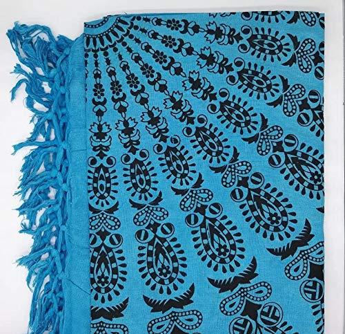 Goodforgoods Decoración de Mandala y Elefantes para la Playa, Piscina, tapicería Cubre Sofa, Mesa sillón, decoración Pared. 100% algodón 210x240 cm. (Azul y Negro, 210x240 cm)
