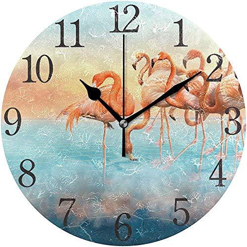 Tabue wandklok stil 9,5 inch met batterijen zonder flamingo tikken rond acryl stil horloges