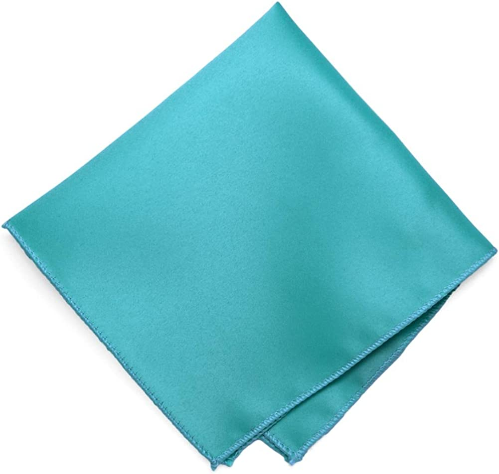 TieMart Turquoise Solid Color Pocket Square
