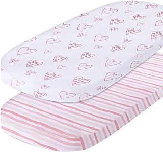 Bassinet Sheet Compatible with Fits SNOO Sleeper Crib Mattress, Pink Print