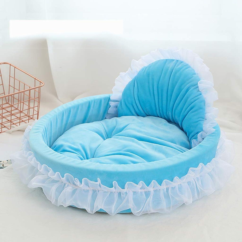 Pet nest, PP cotton four seasons universal cat dog bed, nonslip durable + blanket peach pillow
