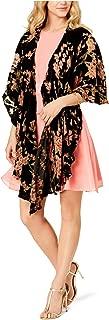 Cejon Womens Velvet Blossom Draped Evening Wrap One Size Black