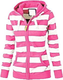 PEIZH Women Long Sleeve Striped Sweater with Hood Casual Ladies Zipper Tops Hoodie Large Size Coat Slim Sweatshirt